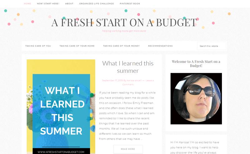 a fresh start on a budget blog